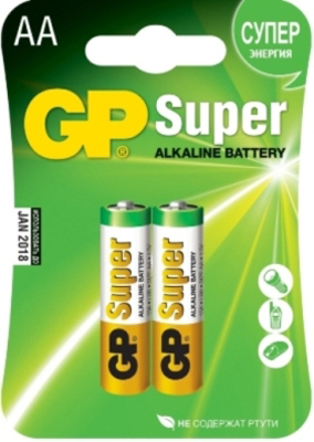 Батарейки GP Super Alkaline Battery AA, 2 штуки, арт. 175