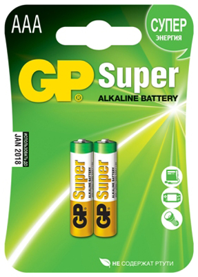 Батарейки GP Super Alkaline Battery AAА, 2 штуки, арт. 198
