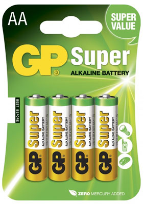 Батарейки GP Super Alkaline Battery AA, 4 штуки, арт. 7151